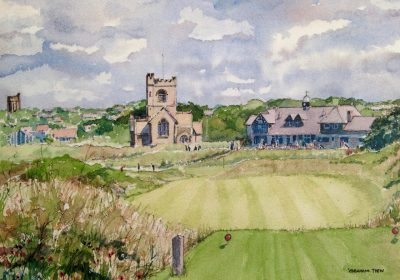 View of the Clubhouse from the 18th Tee Wallasey Golf Club