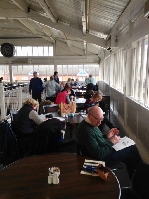 Cosy Urban sketchers in the Cafe at Woodside ferry